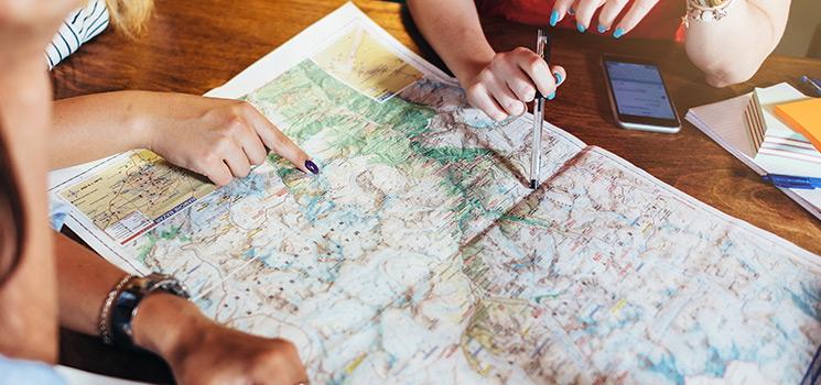 Close-up image of map lying on table