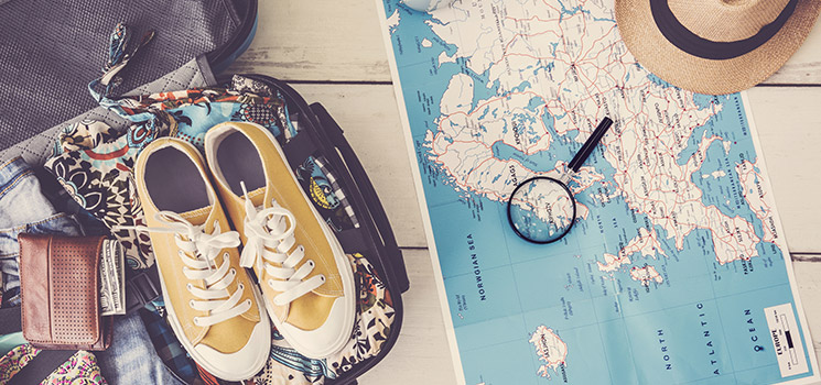 Travel planning and packing on map