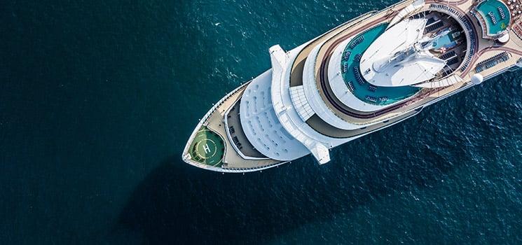 beautiful large cruise ship at sea
