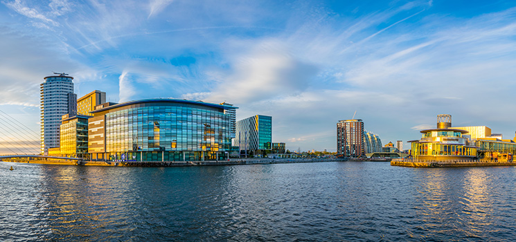 View of the Lowry theater in Manchester, England